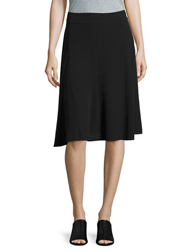 Eileen Fisher Silk Georgette Crepe Flared Skirt-BLACK-Medium