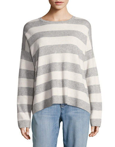 Eileen Fisher Cashmere-Blend Striped Sweater-DARK PEARL-Large