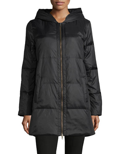 Eileen Fisher Hooded Down-Filled Jacket-BLACK-Large