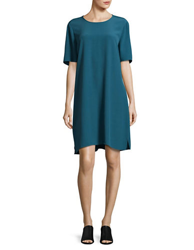 Eileen Fisher Crinkle Crepe Short-Sleeved Dress-NILE-X-Large