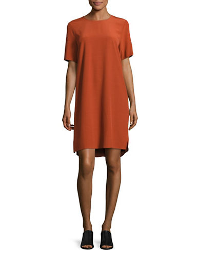 Eileen Fisher Crinkle Crepe Short-Sleeved Dress-PARKA-X-Small