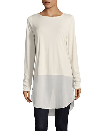 Eileen Fisher Chiffon Silk Tunic-BONE-X-Small