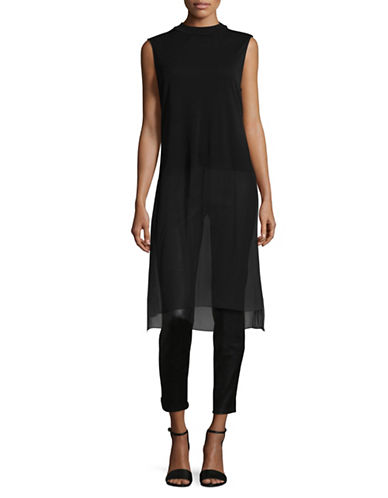 Eileen Fisher Sleeveless Silk Tunic-BLACK-Small