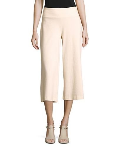 Eileen Fisher Organic-Cotton Blend Ponte Cropped Pants-NATURAL-Medium