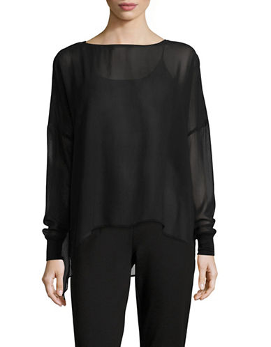 Eileen Fisher Bateau Neck Box Top-BLACK-Medium