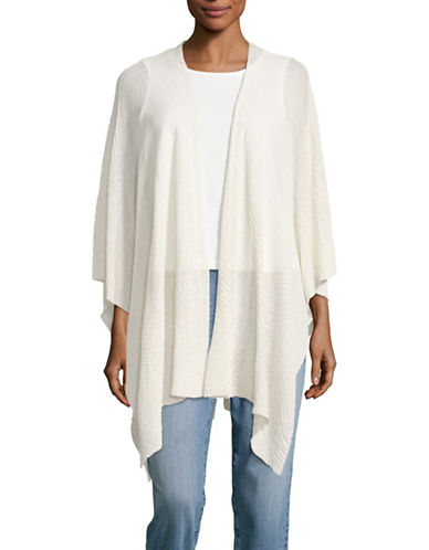 Eileen Fisher Sheer Hemp-Blend Poncho-BONE-One Size