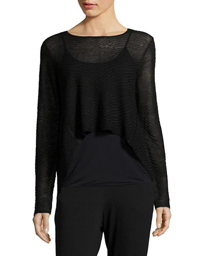 Eileen Fisher Sheer Crop Top-BLACK-Small