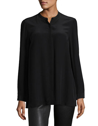 Eileen Fisher Silk Mandarin Collar Shirt-BLACK-X-Small