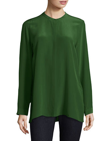 Eileen Fisher Silk Mandarin Collar Shirt-GREEN-X-Small