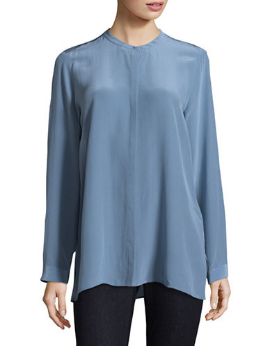 Eileen Fisher Silk Mandarin Collar Shirt-POND-X-Large
