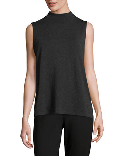 Eileen Fisher Mock Neck Shell-GREY-Small