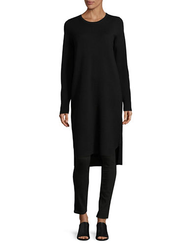 Eileen Fisher Versatile Merino Wool Dress-BLACK-Large