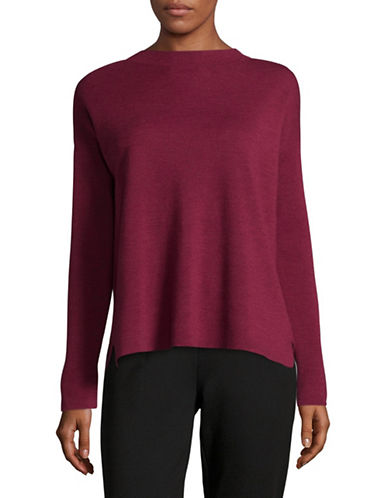 Eileen Fisher Mockneck Box Wool Top-HIBICUS-Large