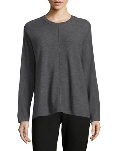 Eileen Fisher Round Neck Merino Wool Sweater-GREY-X-Small