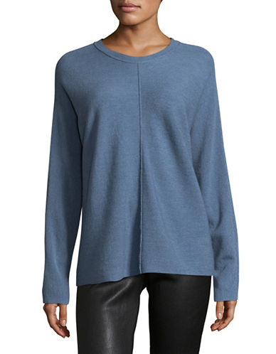 Eileen Fisher Round Neck Merino Wool Sweater-BLUE-X-Large