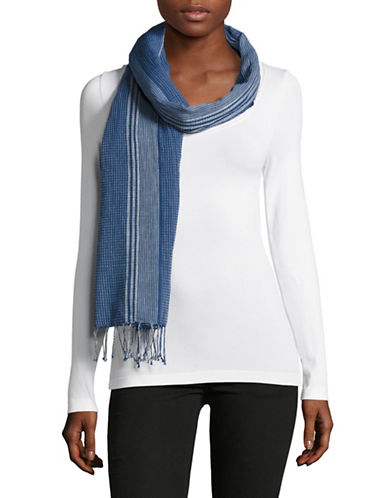 Eileen Fisher Handloomed Mixed Stripe Organic Cotton Scarf-DENIM-One Size