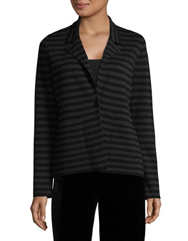 Eileen Fisher Merino Wool Striped Blazer-BLACK-Medium