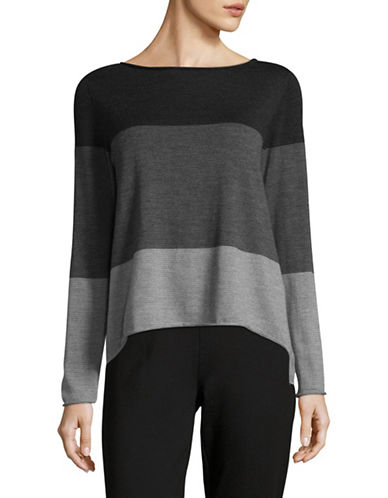 Eileen Fisher Roundneck Fitted Wool Top-GREY MULTI-X-Large