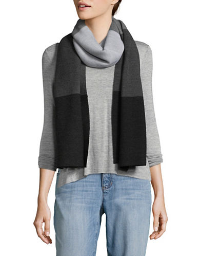 Eileen Fisher Striped Wool Scarf-GREY-One Size