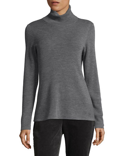 Eileen Fisher Merino Wool Turtleneck Sweater-ASH-X-Small