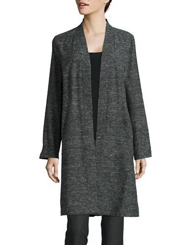 Eileen Fisher Silk-Linen Duster Sweater-BLACK-Medium