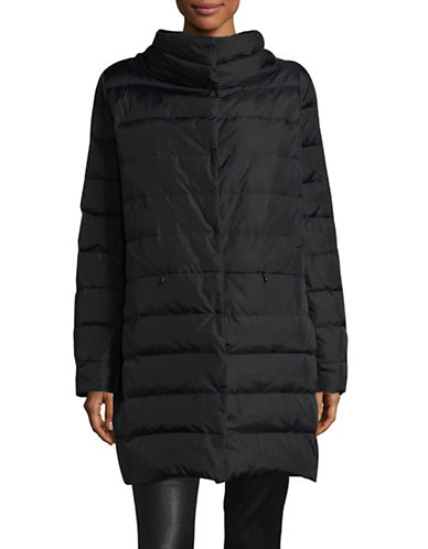 Eileen Fisher Stand Collar Cocoon Coat-BLACK-Large