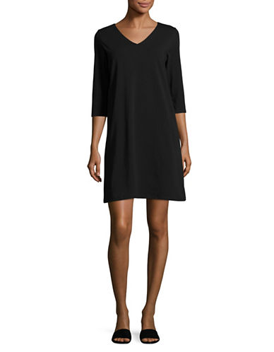 Eileen Fisher Stretch Organic Cotton Dress-BLACK-X-Small