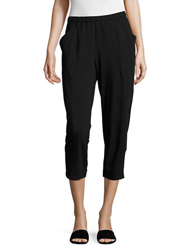 Eileen Fisher Stretch Organic Cotton Cropped Pants-BLACK-X-Small 89293848_BLACK_X-Small