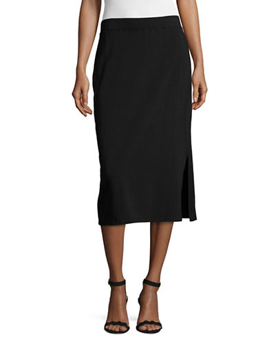 Eileen Fisher Stretch Organic Cotton Pencil Skirt-BLACK-Medium