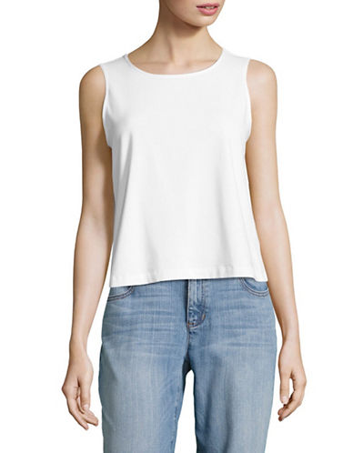 Eileen Fisher Stretch Organic Cotton Shell-WHITE-Small