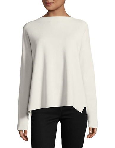 Eileen Fisher Mockneck Box Long-Sleeve Top-BONE-Large