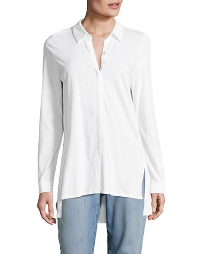 Eileen Fisher Organic Jersey Collared Shirt-WHITE-Large