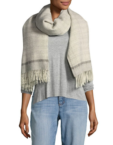 Eileen Fisher Baby Alpaca Patterned Stripe Scarf-PEARL-One Size
