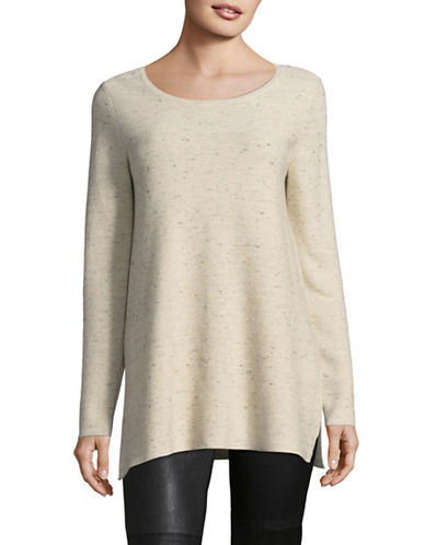 Eileen Fisher Peppered Organic-Cotton Blend Sweater-BEIGE-Large