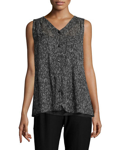 Eileen Fisher Printed Crinkle Silk Blouse-BLACK-X-Small
