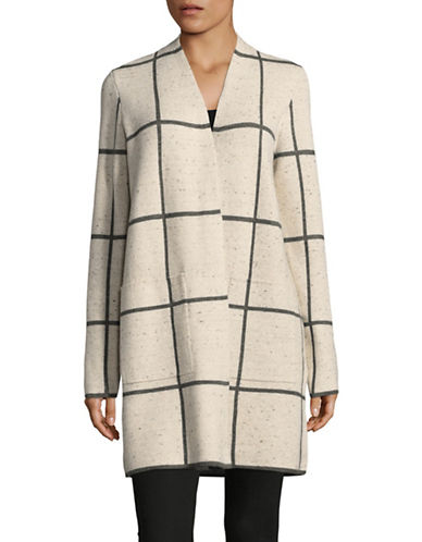 Eileen Fisher Long Wool Blend Check Print Cardigan-BEIGE-Small