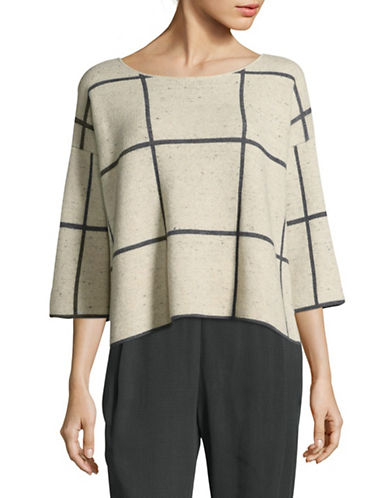 Eileen Fisher Bateau Neck Check Sweater-BEIGE-Small