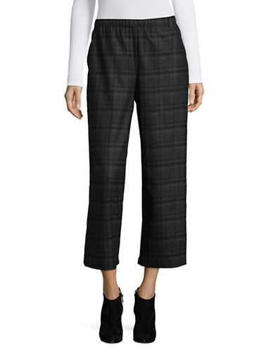 Eileen Fisher Wide Cropped Wool Pant-GREY-X-Large