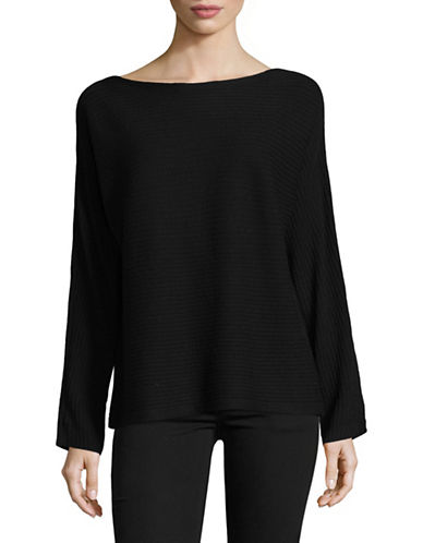 Eileen Fisher Bateau-Neck Wool Top-BLACK-X-Small