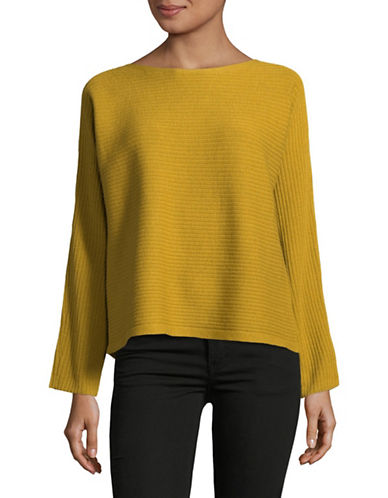 Eileen Fisher Bateau-Neck Wool Top-MUSTARD-Large
