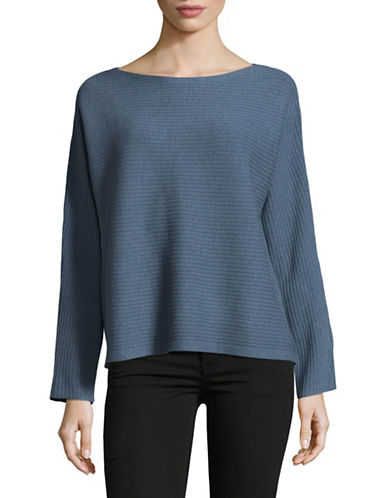 Eileen Fisher Bateau-Neck Wool Top-POND-X-Large