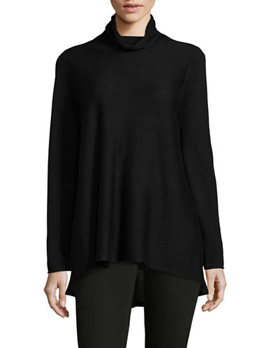 Eileen Fisher Tencel-Wool Turtleneck Sweater-BLACK-X-Large
