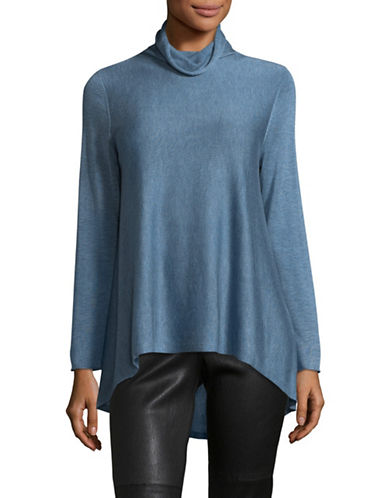 Eileen Fisher Tencel-Wool Turtleneck Sweater-BLUE-Small