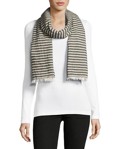 Eileen Fisher Textured Organic Cotton Stripe Scarf-DENIM-One Size