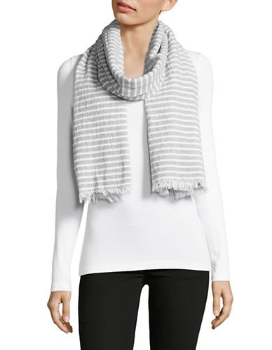 Eileen Fisher Textured Organic Cotton Stripe Scarf-DARK PEARL-One Size