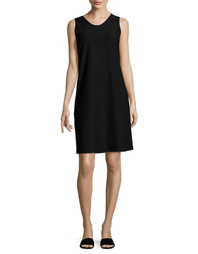 Eileen Fisher Stretch Crepe Dress-BLACK-Large