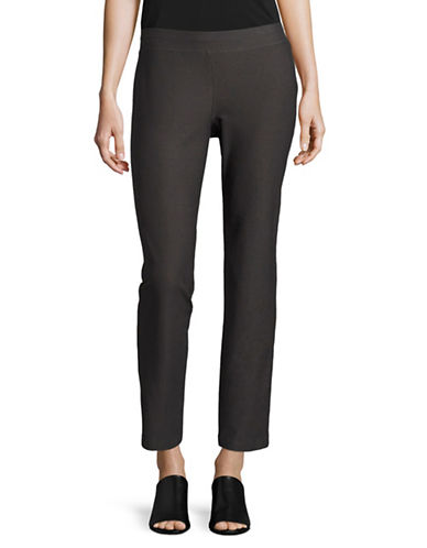 Eileen Fisher Stretch Crepe Slim Ankle Pants-BARK-X-Large