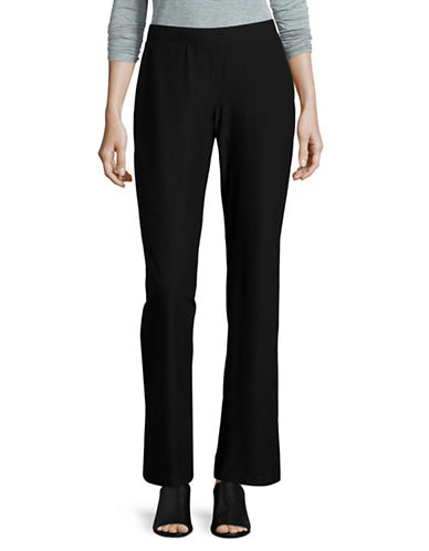 Eileen Fisher Stretch Crepe Straight-Leg Pants-BLACK-Small