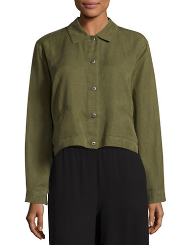 Eileen Fisher Tencel-Linen Cropped Jacket-OLIVE-Medium