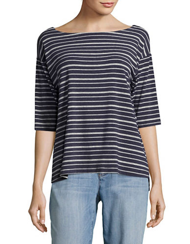 Eileen Fisher Stripe Boat Neck Top-DENIM/DARK PEARL-Small